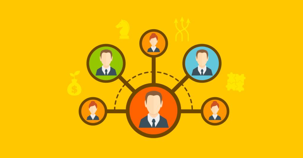 Imagem ilustrativa com ícones de pessoas interligadas sobre fundo colorido.