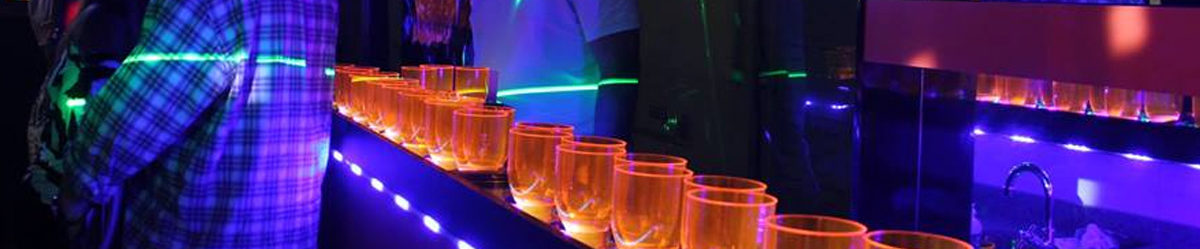 festa noite ônibus copos luzes led colorido