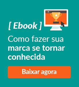 Banner com ícone de tela computador ilustrado com estrela e texto: Ebook, como fazer sua marca se tornar conhecida.